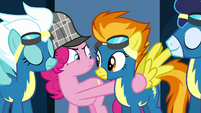 Wonderbolts nodding to Pinkie Pie S7E23