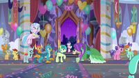 Young Six hear Rarity arrive S9E7