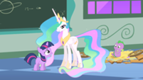 201px-Filly Twilight and Celestia and Spike s01e23