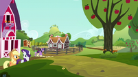 Applejack and Rarity leaving Sweet Apple Acres S6E10