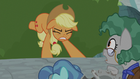 Applejack keeps the boulder from rolling S7E25