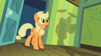 Applejack looking at Apple Bloom spinning plates S2E6