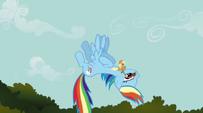 Applejack riding Rainbow Dash S1E09
