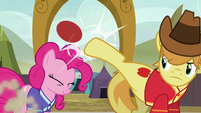 Braeburn bucks the ball over Pinkie's head S6E18