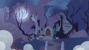Castle of the Royal Pony Sisters in the distance S1E02