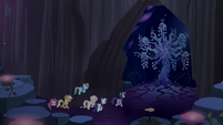 Clone ponies approach the Tree of Harmony S8E13