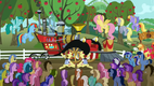 Crowd looking at the Super Speedy Cider Squeezy 6000 S2E15