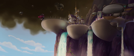 Distance view of Canterlot under siege MLPTM