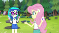 Fluttershy and DJ Pon-3 are tent buddies EG4.png