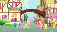 Fluttershy and Rainbow greet Pinkie and Applejack S6E11