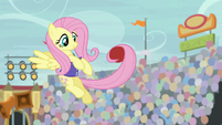 Fluttershy catches buckball with her tail S9E6