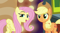 Fluttershy pointing at Flim and Flam S6E20