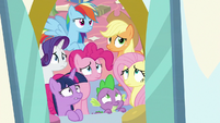 Mane Six and Spike look at the windigos S9E25
