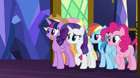 Mane Six look over at Spike and Sludge S8E24