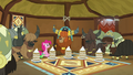 Pinkie, Rutherford, and yaks in yak eating hut S7E11.png