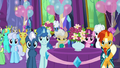 Ponies and changelings in dining hall right side S7E1.png