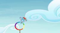 Rainbow flying through ring S4E10