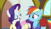 "Rarity ""we'll go shopping first"" S8E17"