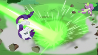 Rarity and Spike blown away by magic S9E25