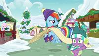 Spike running past Rainbow Dash MLPBGE