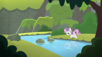 Sweetie Belle standing over a brook S8E6