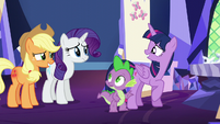Twilight smiles at her friends embarrassed S5E16