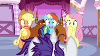 AJ, Rainbow, and Fluttershy in complete shock S7E19