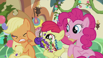 Apple Bloom spitting food chunks at AJ S5E20