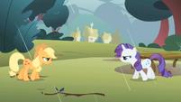 Applejack and Rarity retreating S1E08