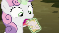 Big Mac's invitation in Sweetie Belle's mouth S8E10