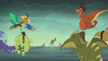 Dragons fly toward Flame-cano Island S6E5.png