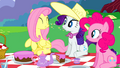 Fluttershy Rarity and Pinkie smiling at picnic S2E25.png