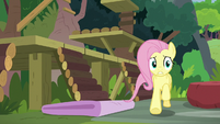 Fluttershy worriedly follows Angel and Sandra S9E18