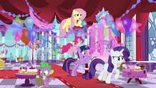 Mane Six setting up the Swanifying party S9E13