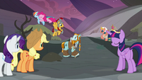 Pinkie Pie excitedly tackles Rainbow Dash S7E26
