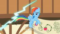 Rainbow Dash next to thunderbolt S2E14