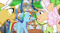Rainbow and grannies enter the wait area S8E5