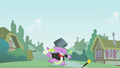 Spike gets hit by rock instead of hat S01E15.png