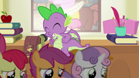 Spike pumping his arm in excitement S8E12