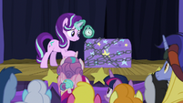 Starlight Glimmer holding a stopwatch S8E19