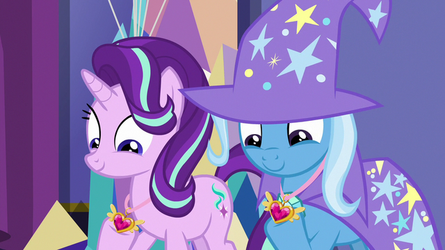File:Starlight and Trixie looking at their medals S7E1.png