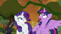 Vines lashing over Twilight and Rarity S9E2