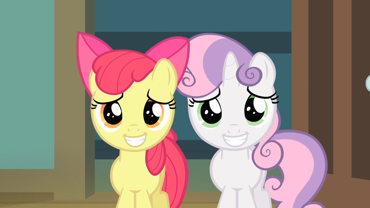 Image Apple Bloom And Sweetie Belle Putting On A Grin