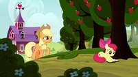 Applejack approaching Apple Bloom S8E12
