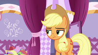 Applejack looks at Hoity and Photo Finish's belts S7E9