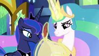 Celestia and Luna look at blank scroll S9E13