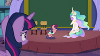 Celestia looks at Twilight; Raspberry Beret cries S8E7