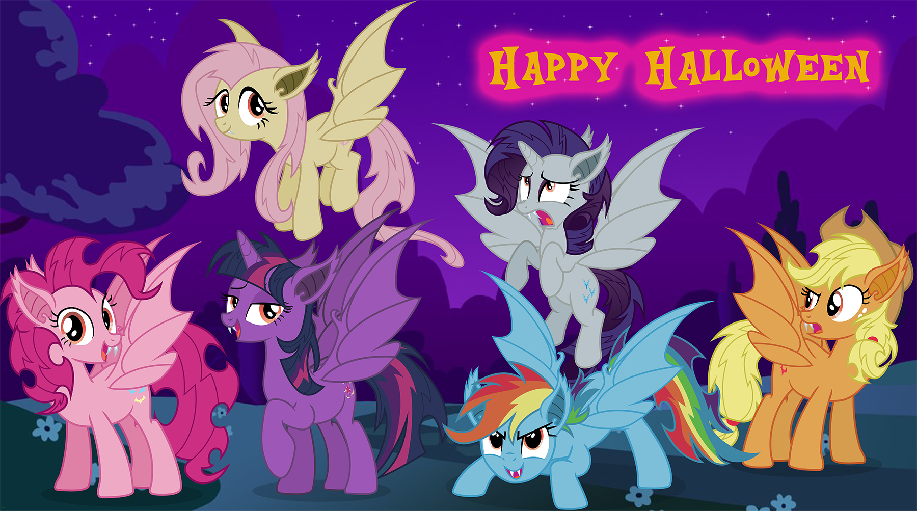 Image - FANMADE - Bat Mane Six - Happy Halloween.png | My Little ...