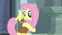 Fluttershy puts Fallen Idol in her saddlebag S9E21
