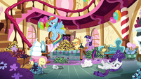 Pinkie Pie's friends see Pinkie Pie leaving S4E18